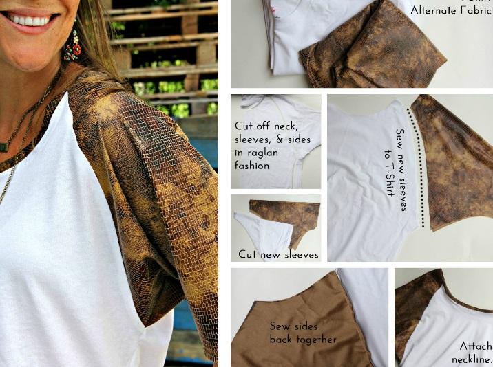 как преобразить скучную футболку: пришить рукава из контрастной яркой ткани