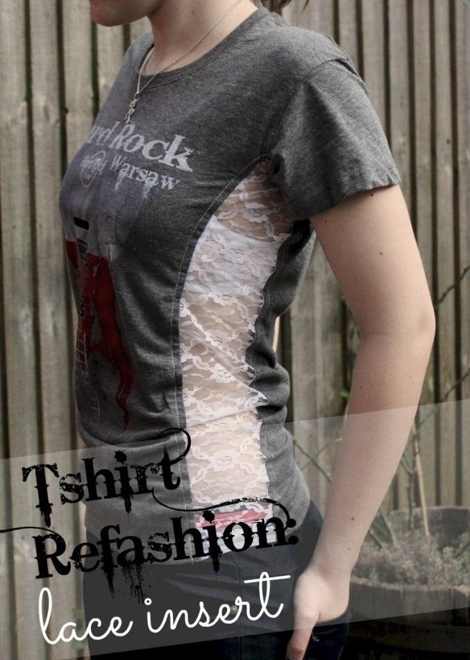 сделать скучную футболку креативной: широкое кружево, вшитое по бокам