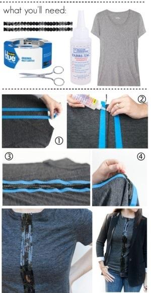 сделать скучную футболку креативной: полоса из пайеток или блестящей ткани спереди