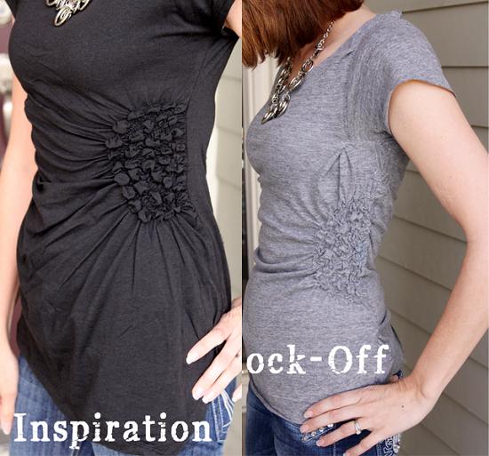 сделать скучную футболку креативной: присбираем ткань сбоку на швейной машинке на эластичную нитку