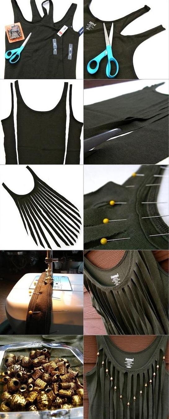 сделать скучную футболку креативной: длинная бахрома спереди