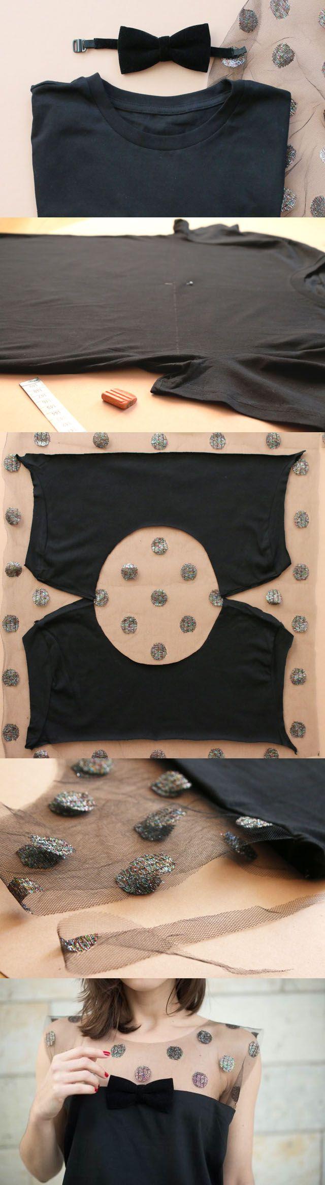 сделать скучную футболку креативной: срезание верха футболки и замена на сеточку с бантом