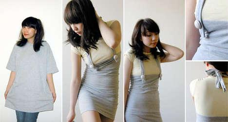 как преобразить скучную футболку: перешить в платье на лямках