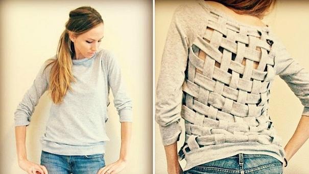 креативная переделка футболок: здесь прямоугольник на спине заполнен переплетающейся сеткой из полосок, нарезанных из ткани, полученной со спины той же футболки