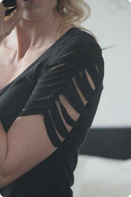 креативная переделка футболок: разрезанные рукава