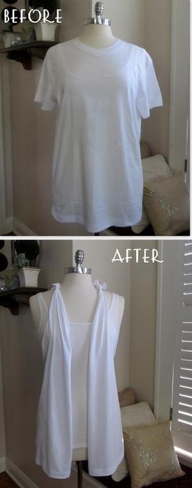 как преобразить скучную футболку: перешить в пляжную накидку вариант 3