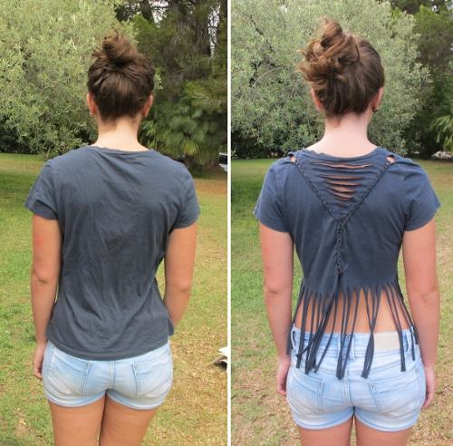 креативная переделка футболок: сложный дизайн на спине и бахрома