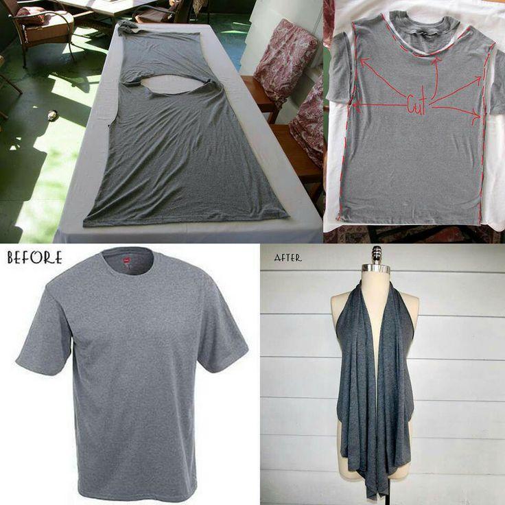 как преобразить скучную футболку: перешить в пляжную накидку вариант 4