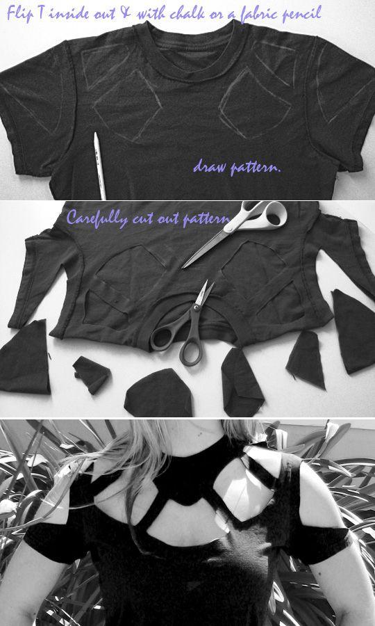 креативная переделка футболок: художественное вырезание