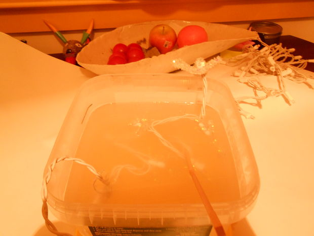Перелейте раствор в контейнер, положите несколько первых фигурок прямо со световой гирляндой в раствор