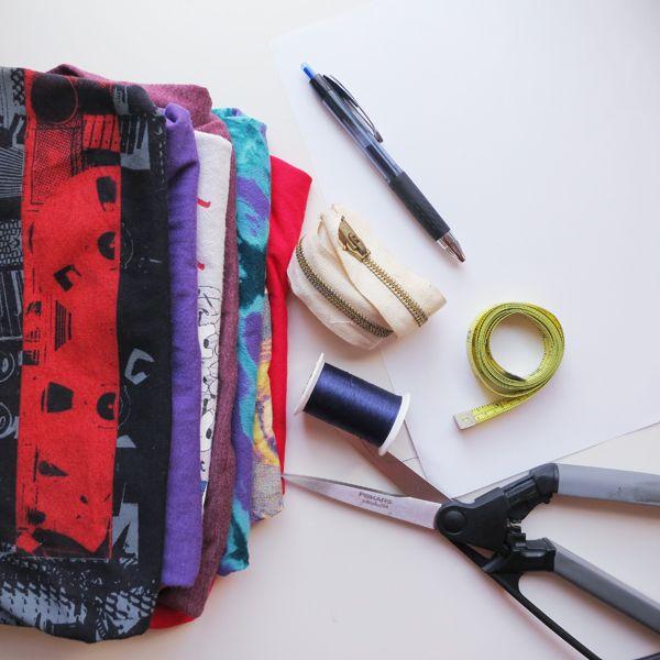 исходные материалы для сумки из футболок