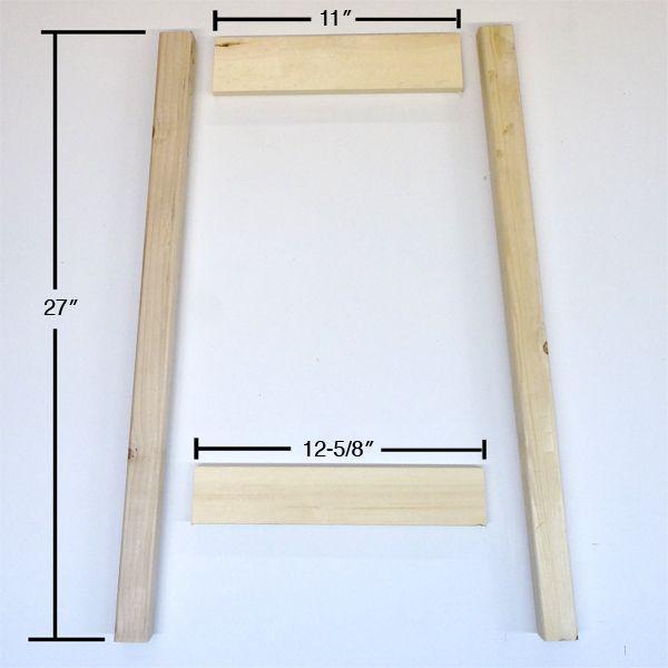 две ножки барного стула и две угловые перекладины разной длины