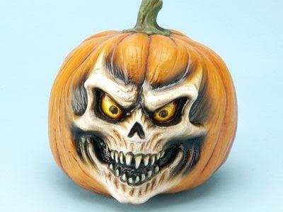 самые жуткие Хэллоуинские тыквы: раскрашенный череп