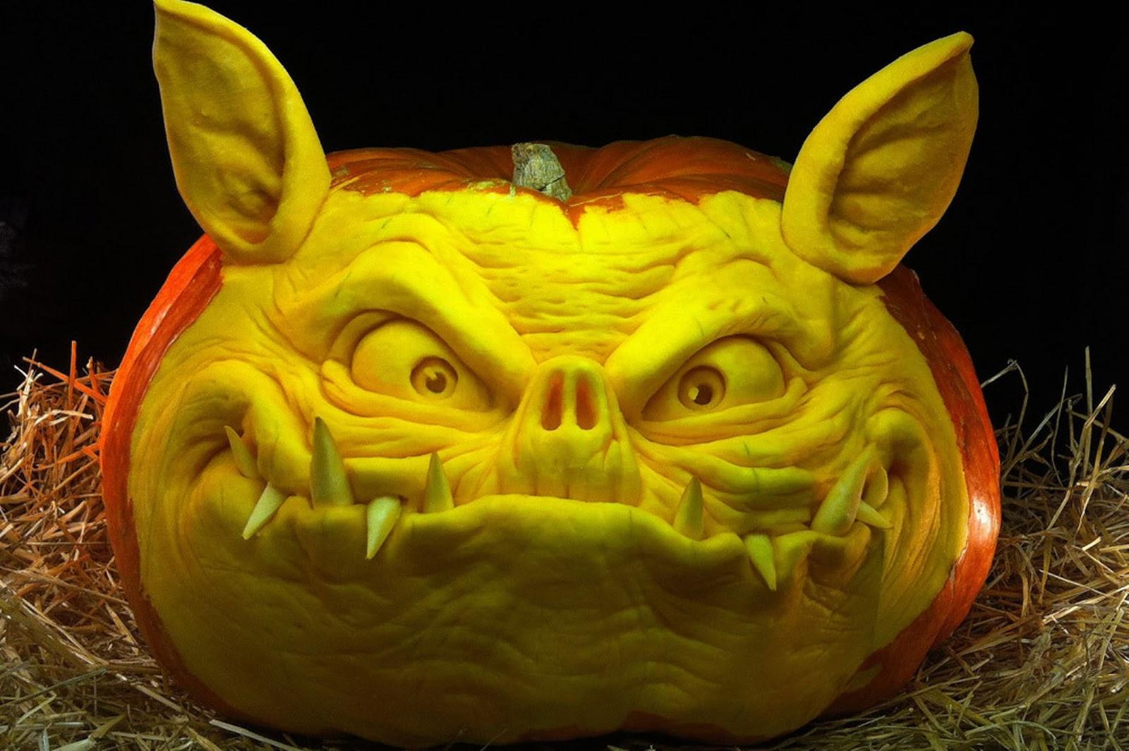 самые жуткие Хэллоуинские тыквы: детальный свин