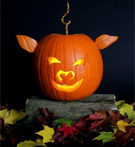 самые жуткие Хэллоуинские тыквы: простой дизайн свина