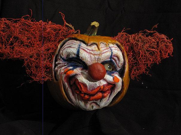 самые жуткие тыквы: страшный клоун