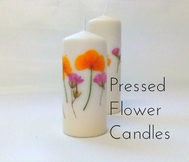 Как быстро и просто украшать простые свечи засушенными цветами