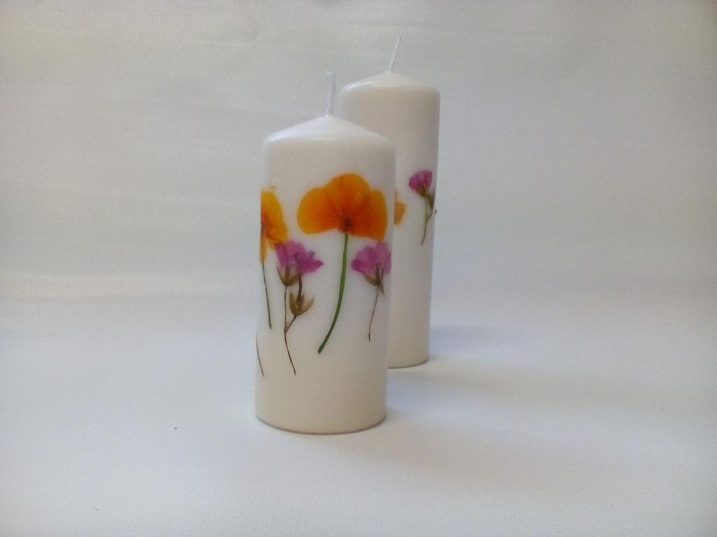 Готовые простые свечи засушенными цветами своими руками за 10 минут