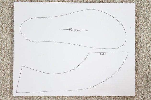нарисуйте выкройки для тапочек, обведя подошвы ног