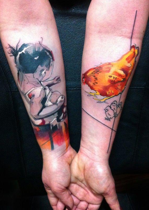 Как выглядят самые популярные направления современных татуировок - Графичные тату и татуировки под изображения акварелью, парные татуировки