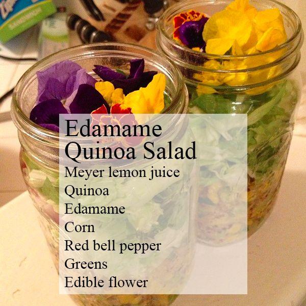 салат с цветами: эдамаме квиноа