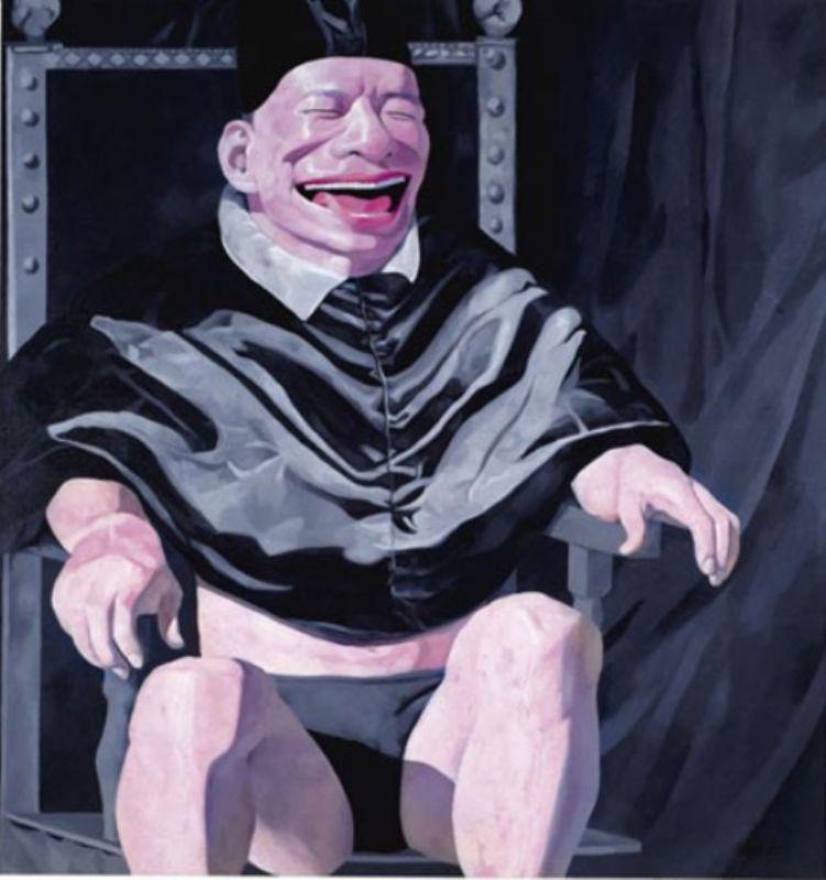 """Юэ Миньцзюнь, художник, картина-пародия на известное полотно """"Папа Иннокентий Х"""""""