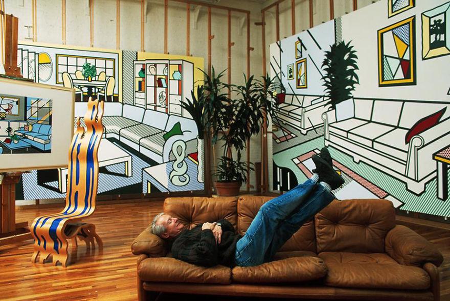 Рой Лихтенштейн, художник (поп-арт) и его студия