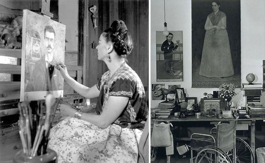 Фрида Кало в своей студии за работой
