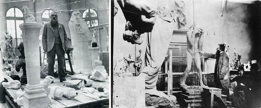 Скульптор Огюст Роден в своей студии за работой