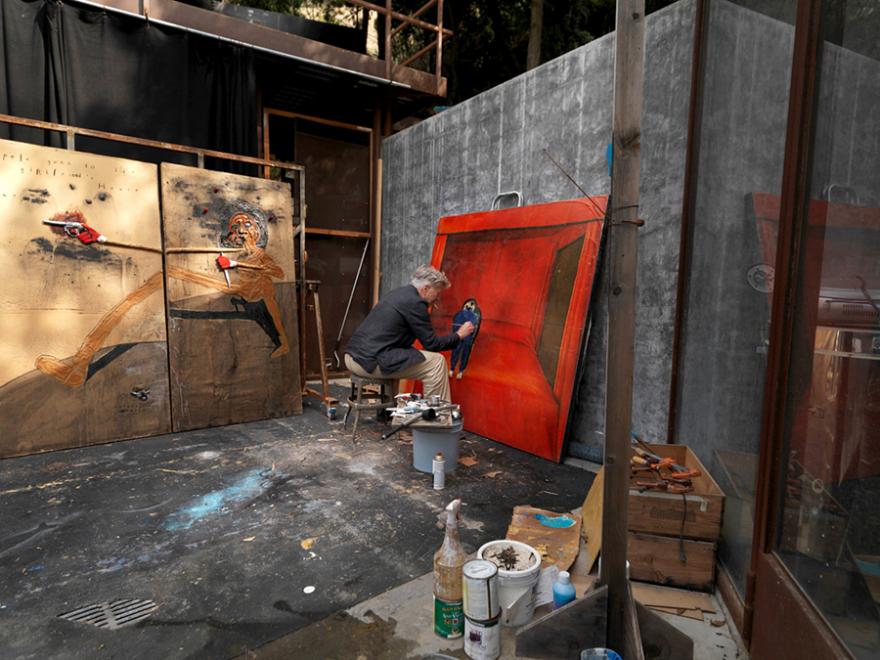 Дэвид Линч, художник, в его студии