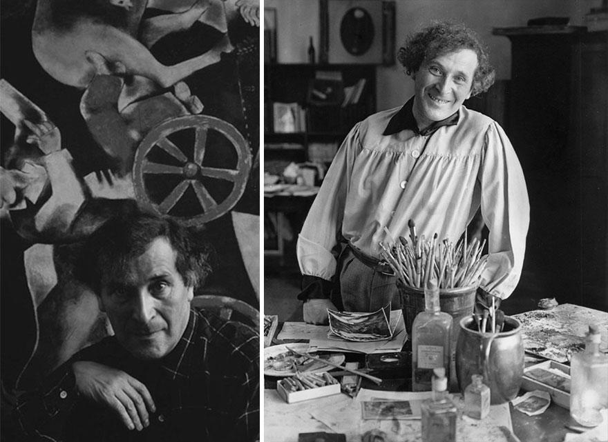 Марк Шагал, русский художник, в своей студии