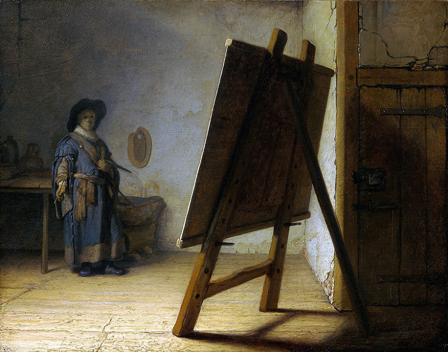 Рембрандт в своей студии, картина