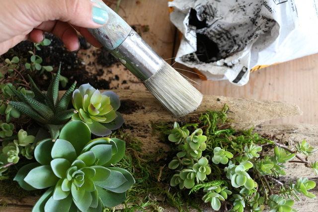 Кистью или зубной щеткой аккуратно, не размазывая, убираем лишнюю землю с поверхности дерева