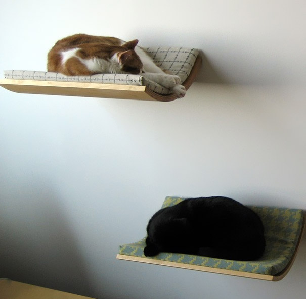 лежаки для кошек - полки на стены
