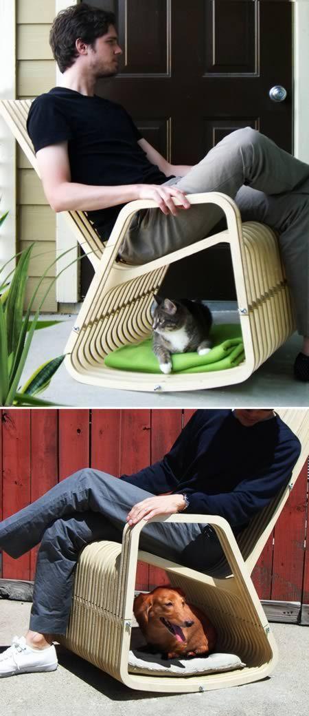 лежак для собак и кошек - под креслом-качалкой