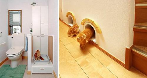 домики для котов в стене