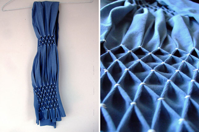 Другой вариант сетки: шарф из футболки