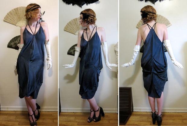 Как превратить 3 легких шарфа/платка в платье из 20-х гг.
