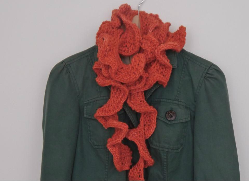 теплый шарфик воланами на круговых спицах
