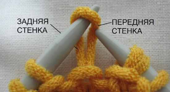 задняя и передняя части петли вяжем на спицах