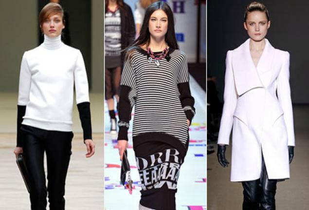 """модная одежда осень 2013 """"шахматы"""" черный и белый модные цвета"""