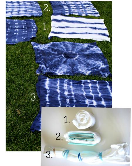 ткань после окрашивания по технике Шибори: соответствие метода складывания и сворачивания полученным результатам