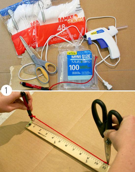 Как декорировать зеркало с помощью пластиковых ложек