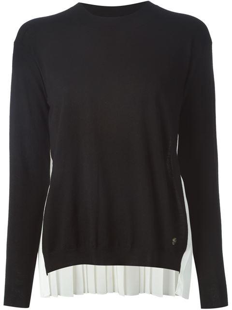 Модный короткий свитер/кофта/пуловер с плиссированной вставкой по низу - по типу юбки