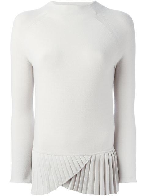 Модный свитер/кофта/пуловер с плиссированной вставкой - снизу боковая