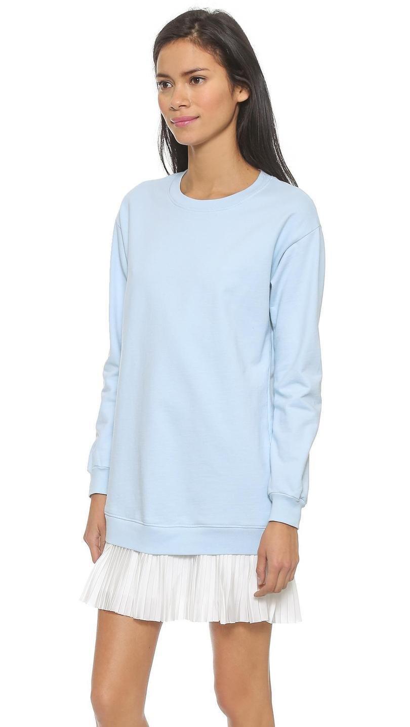 Модный длинный свитер/кофта/пуловер с плиссированной вставкой по типу юбки