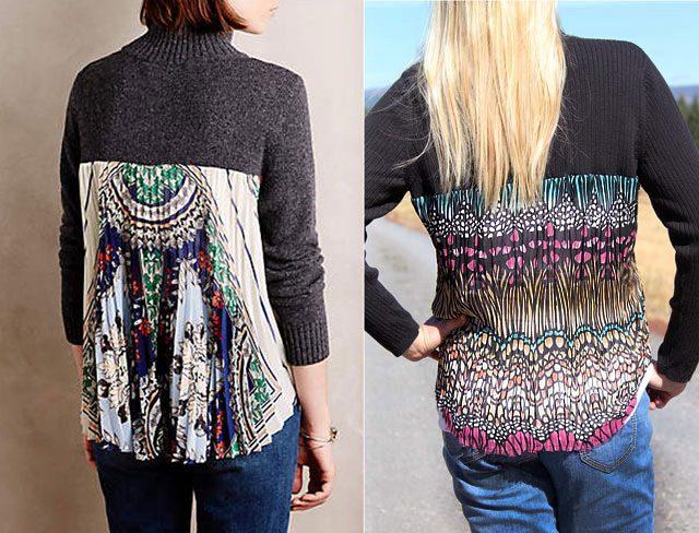 Готовый модный свитер/кофта/пуловер с плиссированной вставкой