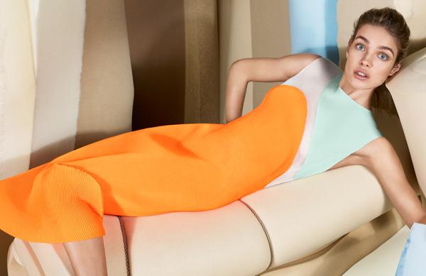 Наталья Водянова, оранжевый - мода осени 2013, Стела Маккартни (Stella McCartney) использовала его в своих ярких, почти флюоресцирующих платьях и отдельных элементах цвета хурмы