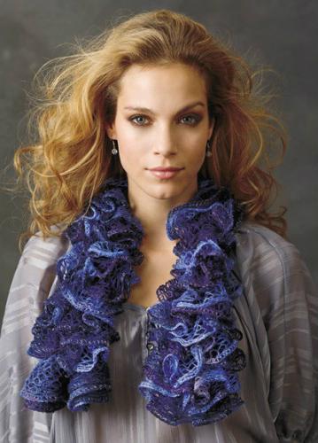 готовый весенний шарфик воланами из пряжи-сетки (из одного мотка)
