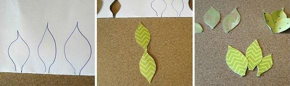 Из цветной бумаги или подходящей бумаги для скрапбукинга (имеет не просто цвет, а расцветку) нарезаем листочков